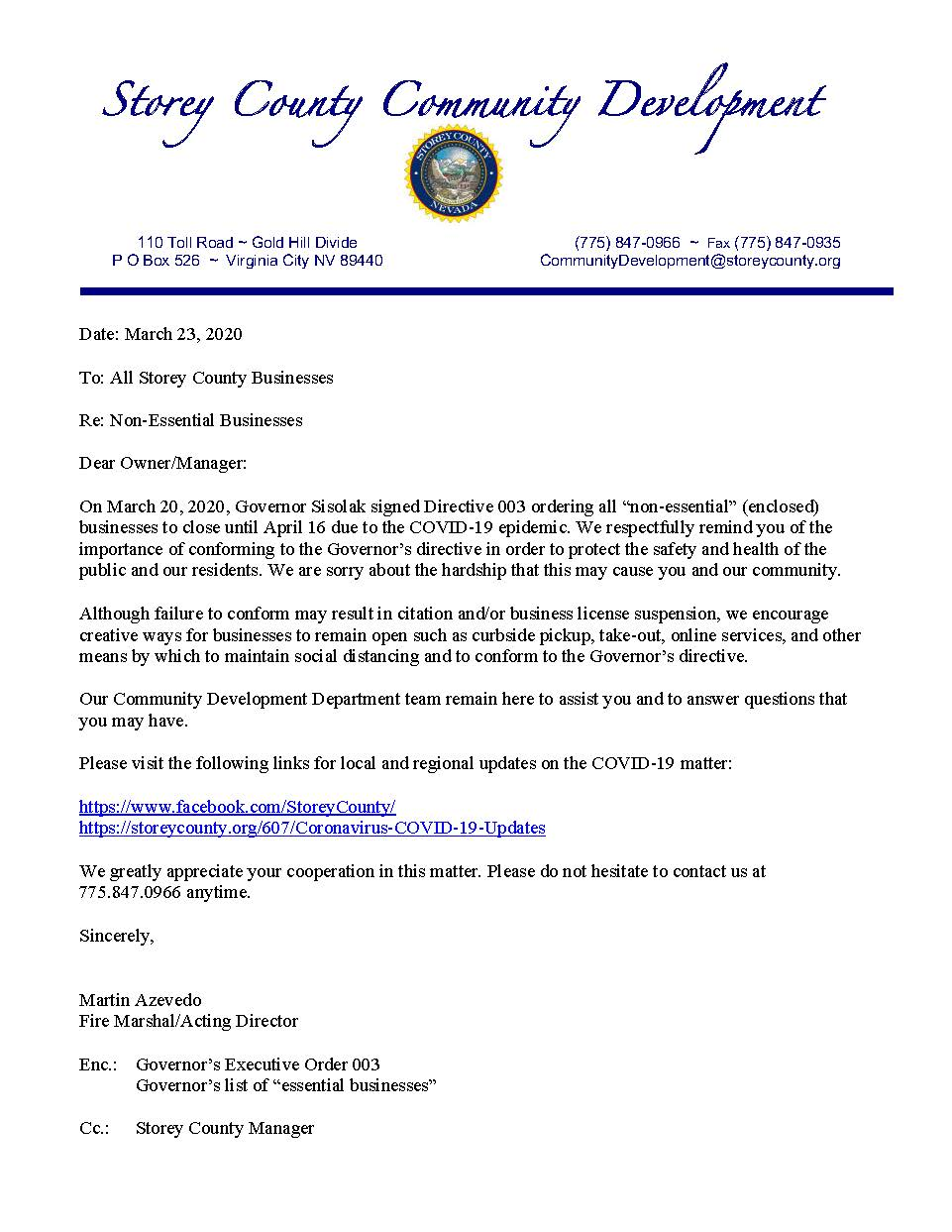 SC Community Development Letter to County Businesses 3-24-20